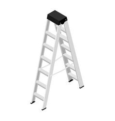 Metallic household steps isolated aluminum ladder vector