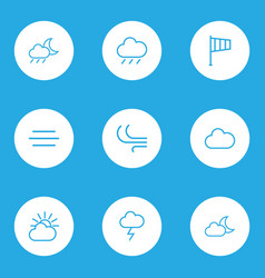 Nature outlines set collection of cloud sky vector