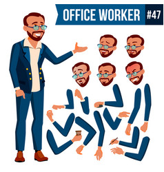 Office worker turkish turk face emotions vector