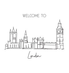 One single line drawing house parliament vector