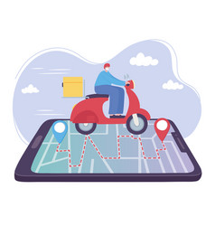 Online delivery service man in scooter on vector