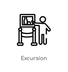Outline excursion icon isolated black simple line vector