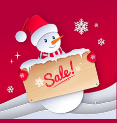 paper cut style snowman character vector image