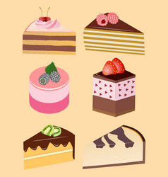 pieces of cakes and pastries vector image