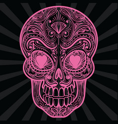 Pink mexican sugar skull tatoo vector