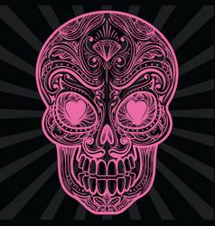 pink mexican sugar skull tattoo vector image
