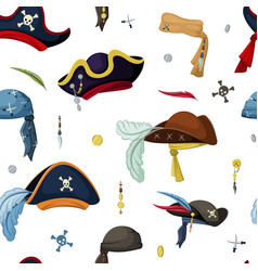 Pirate hats and scarves seamless pattern vintage vector