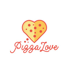 Pizza and love shape logo design inspiration vector