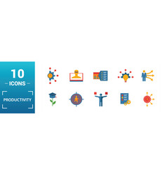 productivity icon set include creative elements vector image