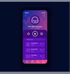 Radio appliation night smartphone interface vector