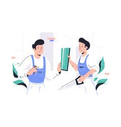 repairman in working progress vector image