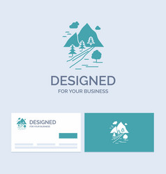 Rocks tree hill mountain nature business logo vector