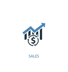 Sales concept 2 colored icon simple blue element vector