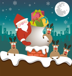Santa claus and Reindeer send gifts on chimney vector image
