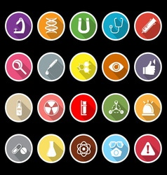 Science icons with long shadow vector image