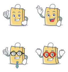 Set of bag character with proud okay businessman vector