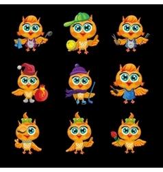 set of cute owls Cartoon characters vector image