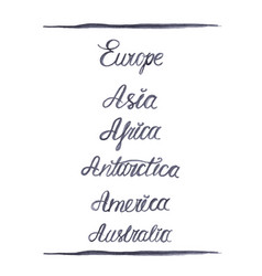 set of hand-drawn names of the continents vector image