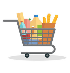 Shopping trolley full of food vector