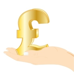Sign english money in palm vector
