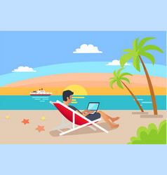 Summer freelancer man distant worker vector