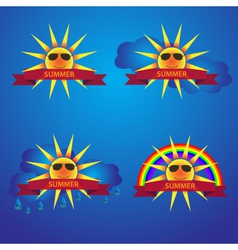 summer sun icons with banner eps10 vector image