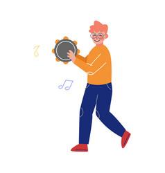 teen boy playing tambourine musical instrument vector image