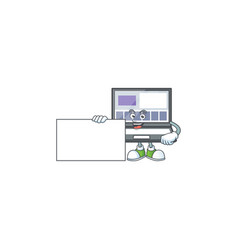 Thumbs up with board laptop with a cartoon vector
