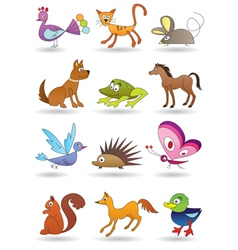 Toys with animals for kids icons set vector image