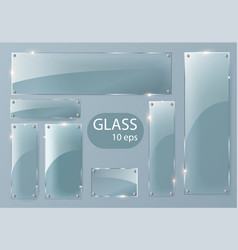 transparent glass plates set square shape vector image