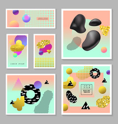 Trendy design set with golden glitter elements vector