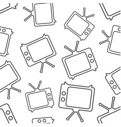 tv icon in line style seamless pattern background vector image