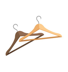 Two wooden clothes hangers with metal hooks vector