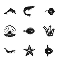 underwater fauna icons set simple style vector image