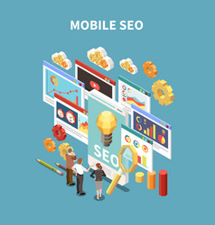 web seo isometric and colored composition vector image