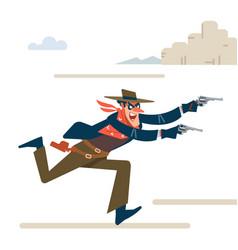Wild west gunslinger cowboy robber runs attack vector