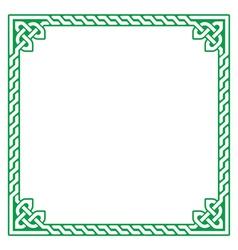 Celtic green frame border pattern - vector image vector image