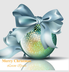 christmas ball with bow shiny card merry vector image