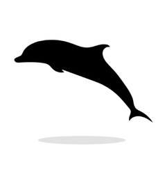Dolphin sea animal black silhouette vector image