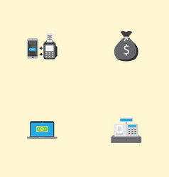 flat icons till finance sack computer and other vector image vector image