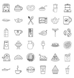 foodstuffs icons set outline style vector image