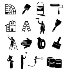 House painter icons set vector image