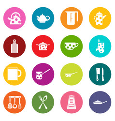 kitchen tools and utensils icons many colors set vector image vector image