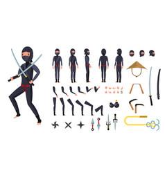ninja animated character creation set vector image