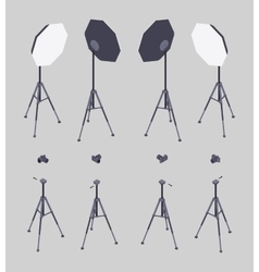 Isometric softbox photocamera and tripod vector image