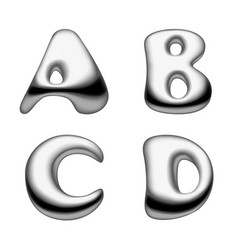 metal and liquid mercury alphabet capital letters vector image vector image