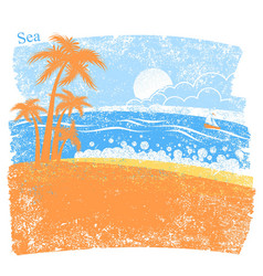 nature tropical sea background with palm island vector image vector image
