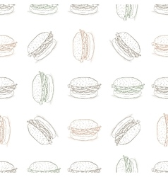 seamless pattern burger scetch vector image