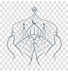 silhouette of hands praying namaz vector image vector image