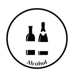 Wine and champagne bottles icon vector image